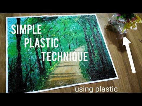 Easy Green Forest Acrylic Painting | plastic technique | Step by Step Beautiful Landscape Painting