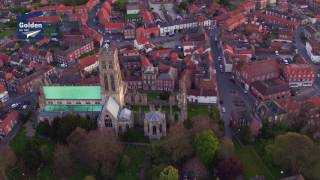 Aerial dawn over Howden Minster