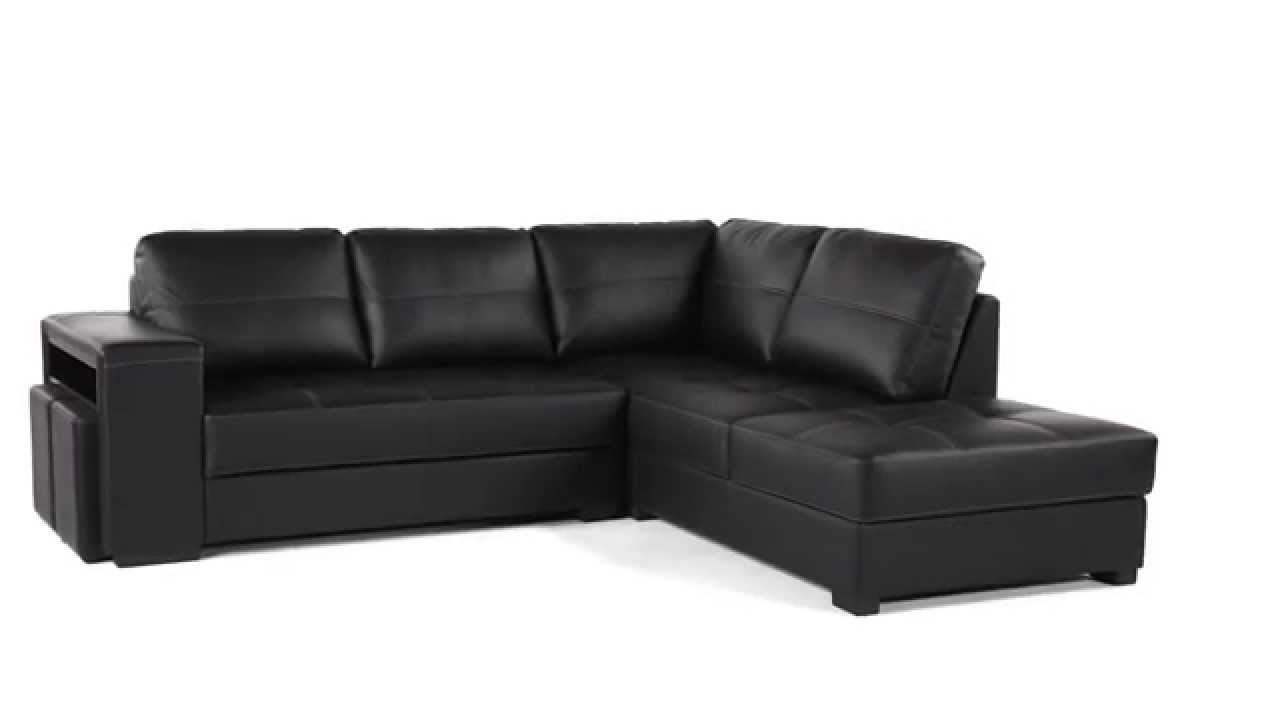 canape design grand angle cuir et polyurethane noir ayrton but