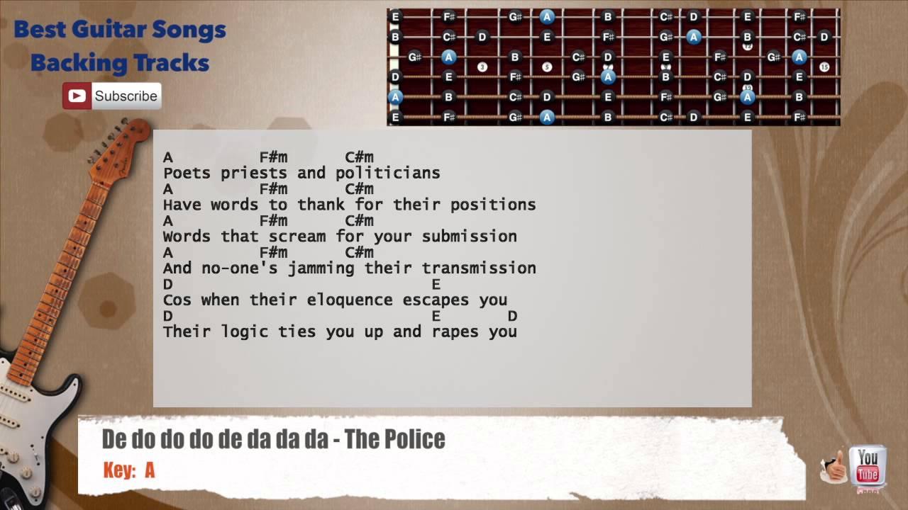 De Do Do Do De Da Da Da The Police Guitar Backing Track With