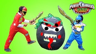 Power Rangers Dino Charge Giant Toys Surprise Egg Opening Red and Blue Ranger