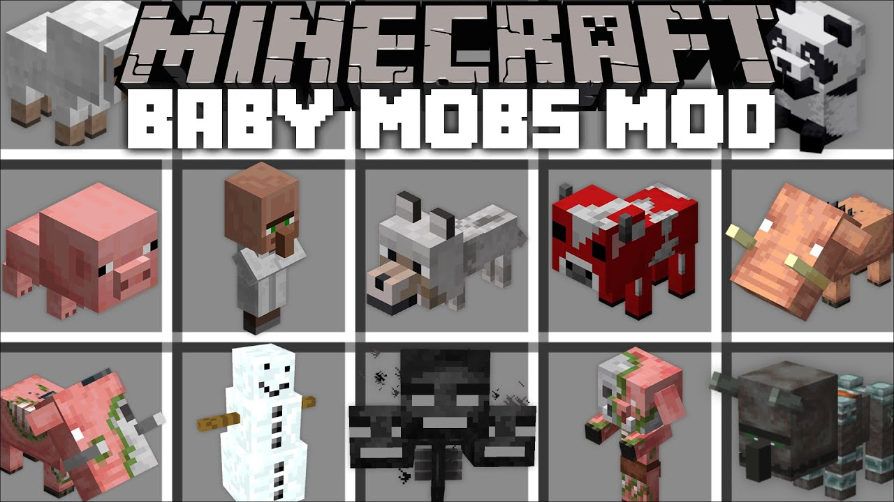 Minecraft BABY MOBS MOD / FIND THE BEST PETS MOB AND BREED THEM
