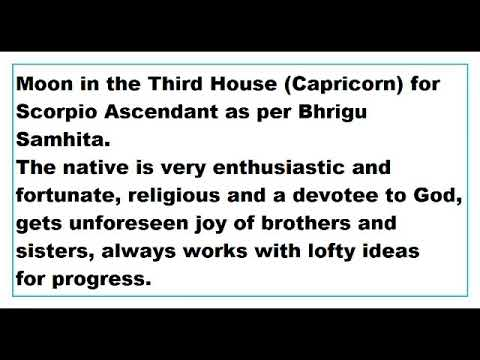 moon in 3rd House for scorpio Ascendant as per Bhrigu Samhita - YouTube