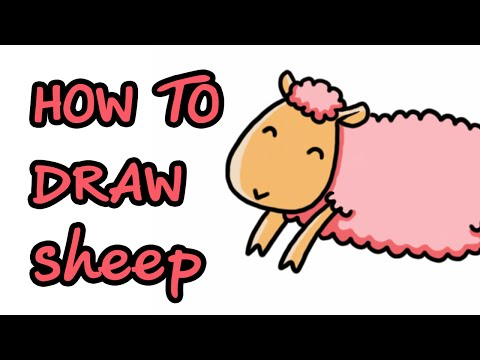 How to draw Sheep ... สอนวาดภาพระบายสีการ์ตูน แกะ สีชมพู ง่ายๆ สำหรับเด็ก