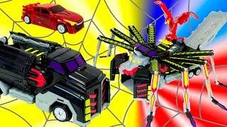 MeCard машинки. Трансформеры Грузовик трансформируется в паука Гоночная машинка в птицу