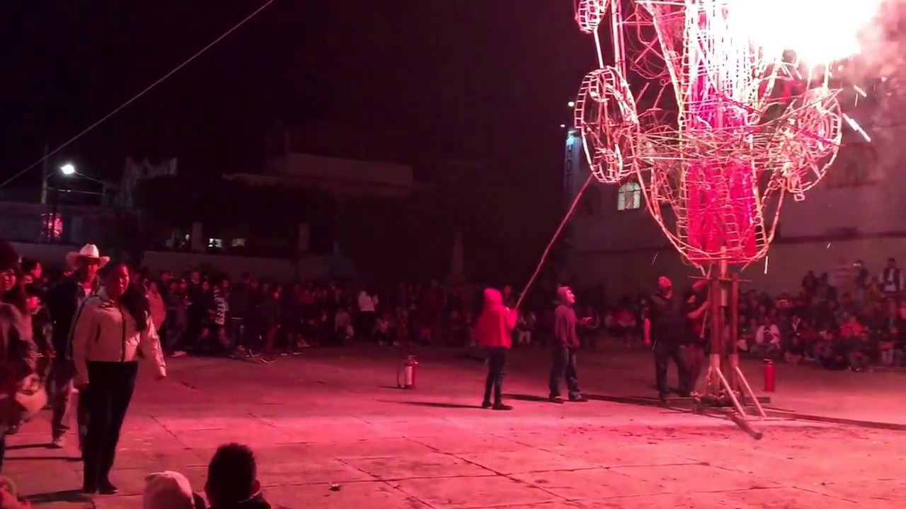 mexican firework castle at the fiestas of ajijic 2016