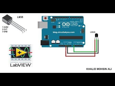 LM35, Arduino, LABVIEW. تشغيل حساس درجة الحرارة عن طريق الابفيو والاردوينو