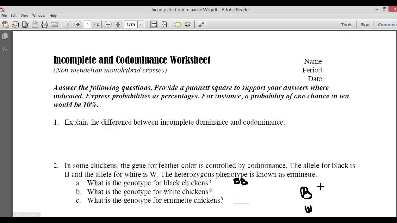 Worksheets Incomplete Dominance Worksheet incomplete and codominace worksheet part1 youtube
