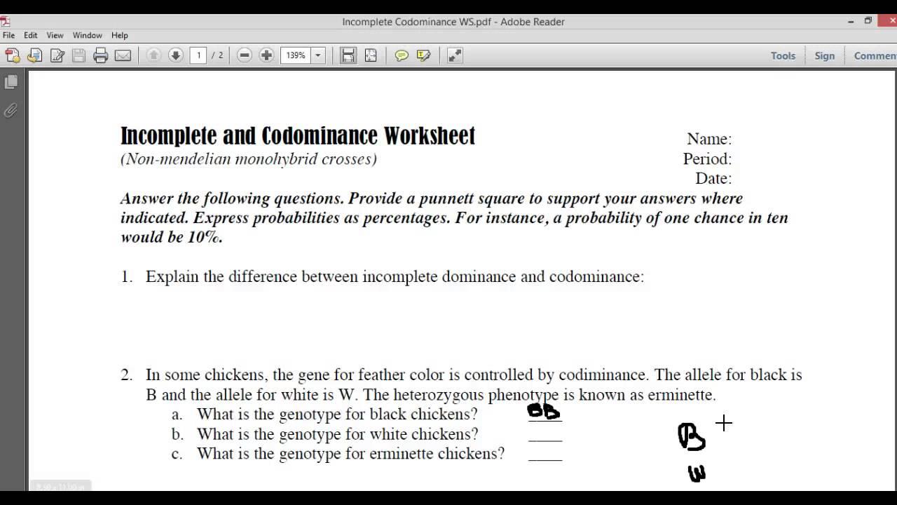 Codominance Multiple Alleles Worksheet - multiple alleles ...