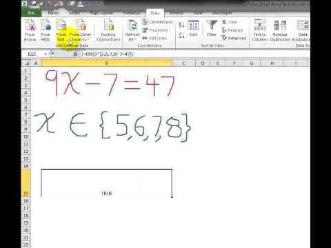 Video 00070 Use array formula to solve an algebra equation