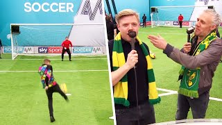 """EXPELLIARMUS!"" - Rob Beckett gives Norwich fans funny nicknames during Volley Challenge ⚡🤓"