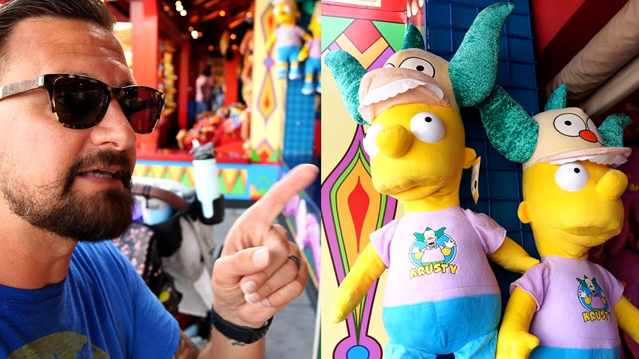 Playing Every Universal Studios Simpsons Land Carnival Game!   Prizes, Lunch & Exploring Springfield