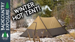 Winter Camping In A H๐t Tent With Friends!