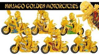 Golden Ninjago Motocycles w/ Cole Jay Kai Zane Nya & Lloyd Unofficial LEGO Minifigures
