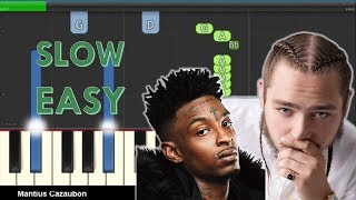 How to Play Rockstar by Post Malone ft. 21 Savage on Piano - Slow