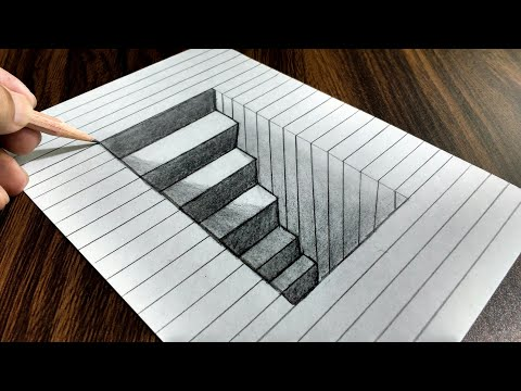 how to draw a 3d hole easy