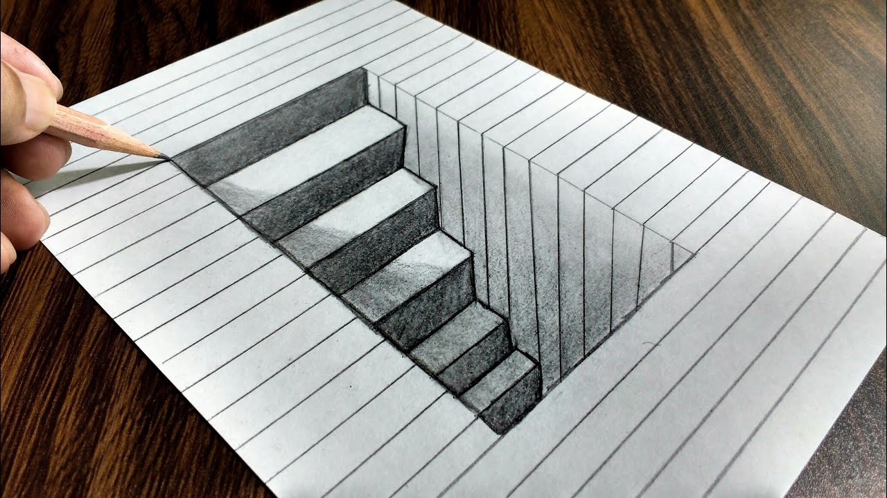 Drawing Lines In R : How to draw d steps in a hole line paper trick art