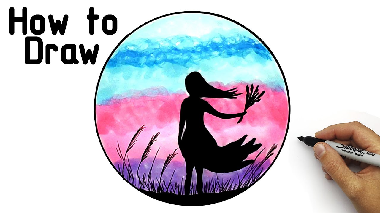 How to draw a beautifiul Landscape- a girl with flowers on a sunset background