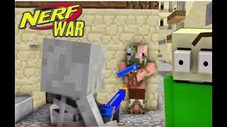 Monster School : NERF WAR CHALLENGE with BALDI - Minecraft Animation