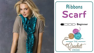 How To Knit a Scarf: Ribbons Yarn Scarf using  Red Heart Boutique Ribbons