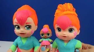 LOL Sürpriz Bebek Dönüşüm Challenge PlayDoh Baby Alive' ı L.O.L. Neon Q.T. Benzetmek Bidünya Oyuncak
