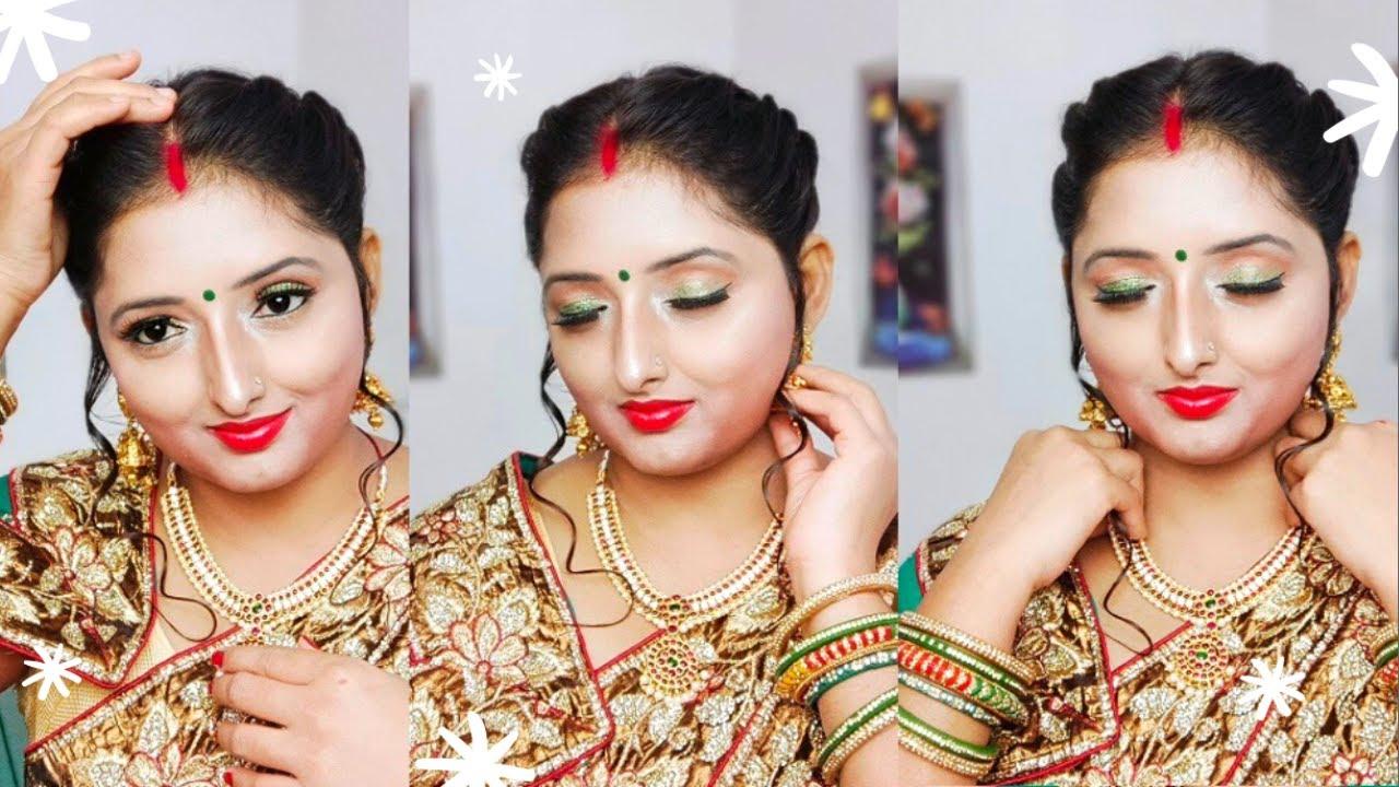 नई दुल्हन सावन स्पेशल मेकअप हरी साड़ी के साथ कैसे करें l Sawan Special Makeup Tutorial lKiranshankar