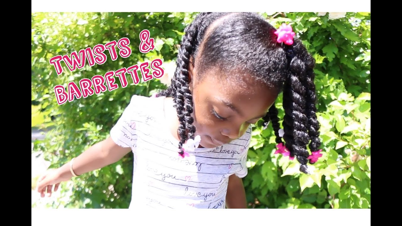 Twists  Barrettes  Natural Hair Tutorial for Girls ft As