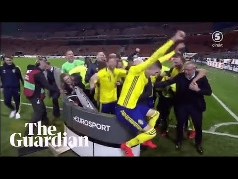 Sweden team crash TV broadcast celebrating place at World Cup