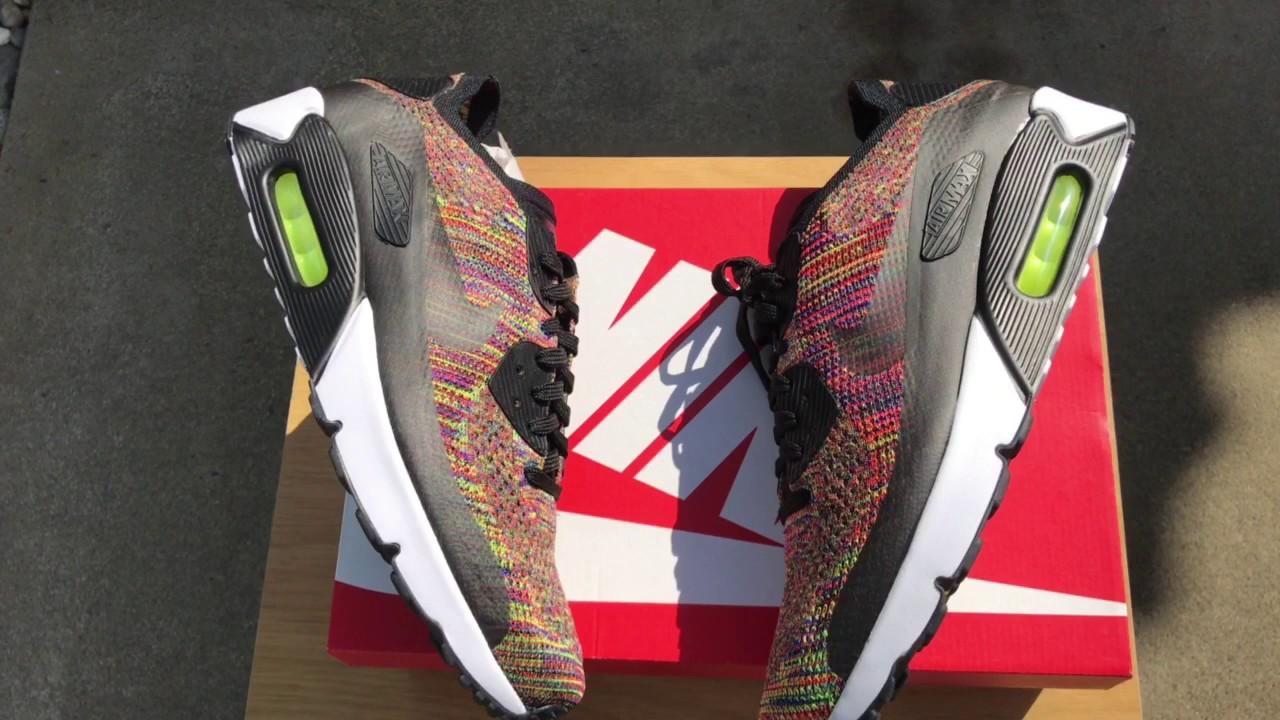 d4e3d59cb3 Nike Air Max Day! | Nike Flyknit Air Max 90 Black/Multicolor - Video Review  & On-Feet. SneakerWhorez.com