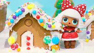 Christmas LOL Surprise ! Toys and Dolls Fun with Custom L.O.L. Babies and Gingerbread House