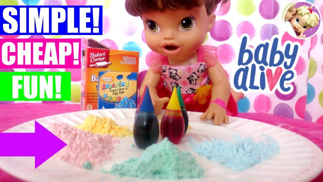 How To Make Colorful Baby Alive Food In 10 Seconds The Baking Soda Method Baby Alive Diy