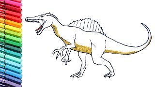 Drawing and Coloring Spinosaurus - Coloring Pages for Kids to learn colors With Dinosaurs