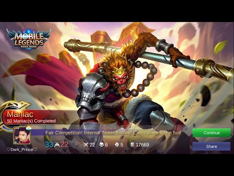 SUN. The Monkey King 🙊 =MANIAC= So Strong.   Mobile Legends Bang Bang 💪😍❤️