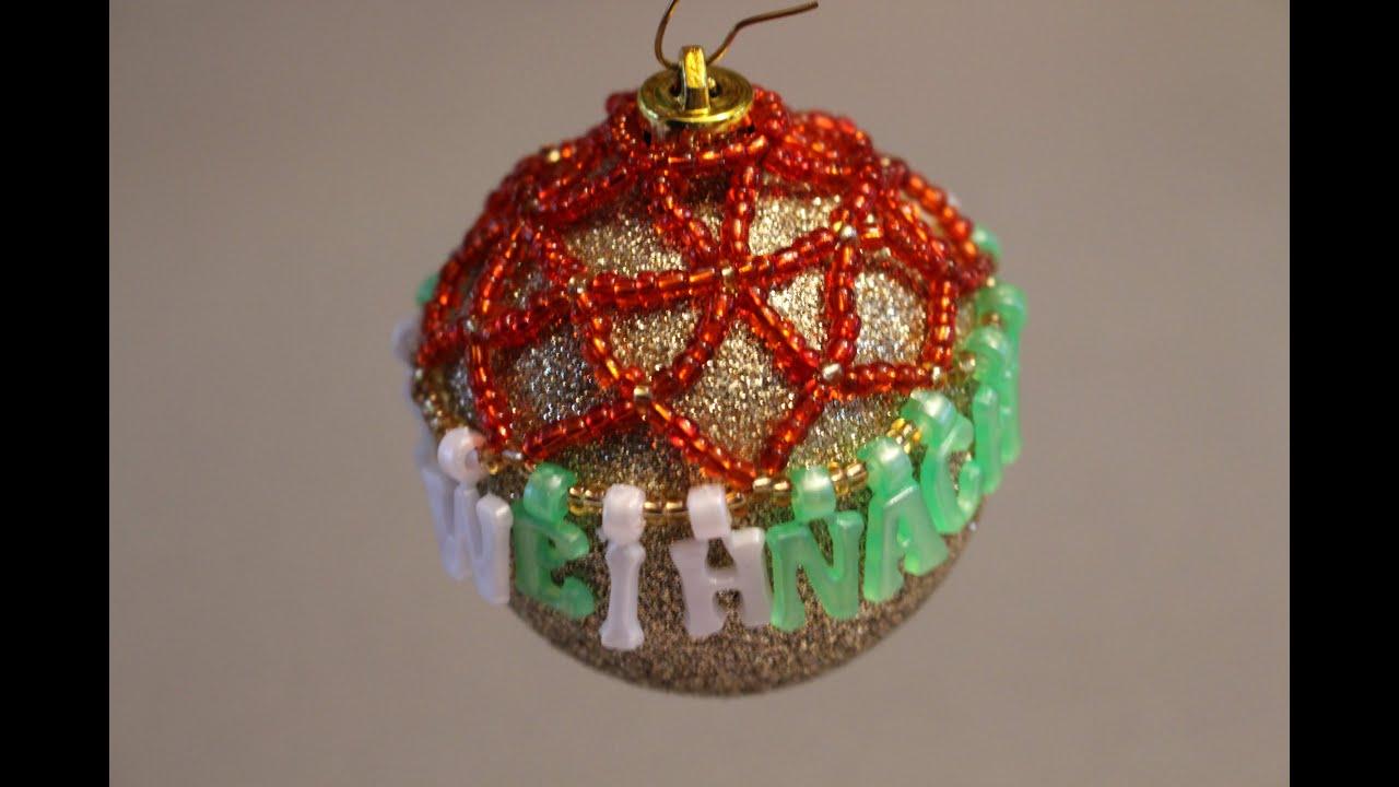 christbaumkugel dekorieren mit perlen weihnachten diy. Black Bedroom Furniture Sets. Home Design Ideas
