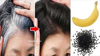 Get rid of gray hair with one banana even if the hair is all white and the result is 100%
