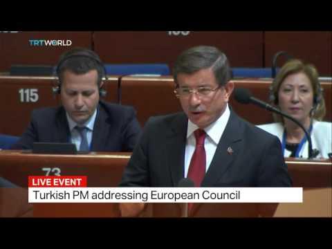 Turkish PM Davutoglu answers questions in European Council