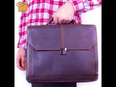 cdc5025c6c3c Мужской кожаный портфель с карманом для ноутбука 12,6