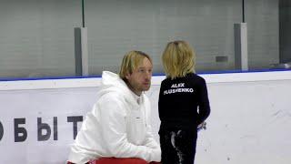 Тренер и ученик Евгений Плющенко с сыном Александром
