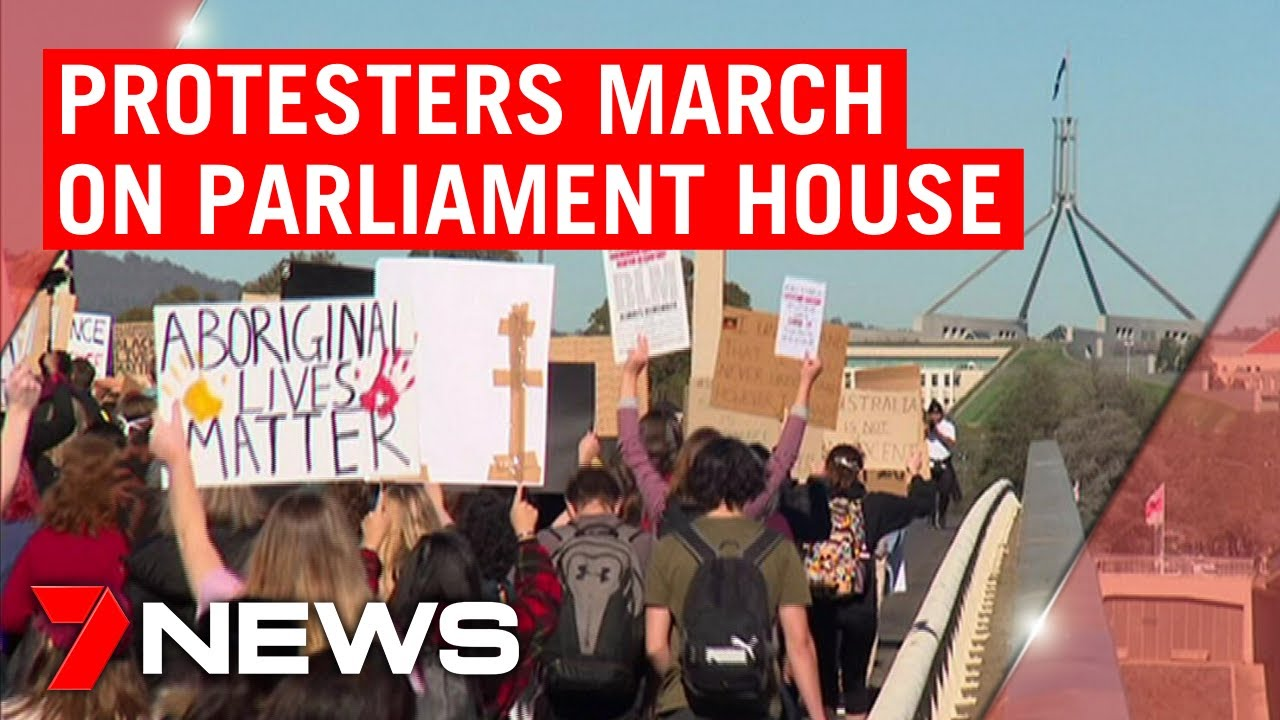 Canberra Black Lives Matter march: protesters descend on Australia's Parliament House | 7NEWS