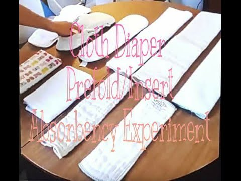 Cloth Diaper Prefolds & Inserts Absorbency Experiment (10 different styles/brands)