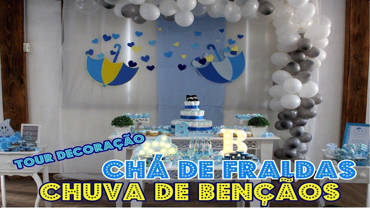 DECORA u00c7ÃO CHÁ DE FRALDAS CHUVA DE BEN u00c7ÃOS MENINO CHUVA DE AMOR YouTube -> Decoração Cha De Fralda Chuva De Amor Simples