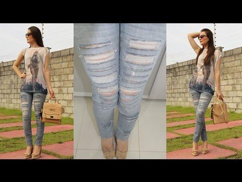 Resultado de imagem para Como Rasgar uma Calça Jeans