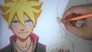 Speed Drawing - Uzumaki Boruto e Uchiha Sarada (Naruto Gaiden)