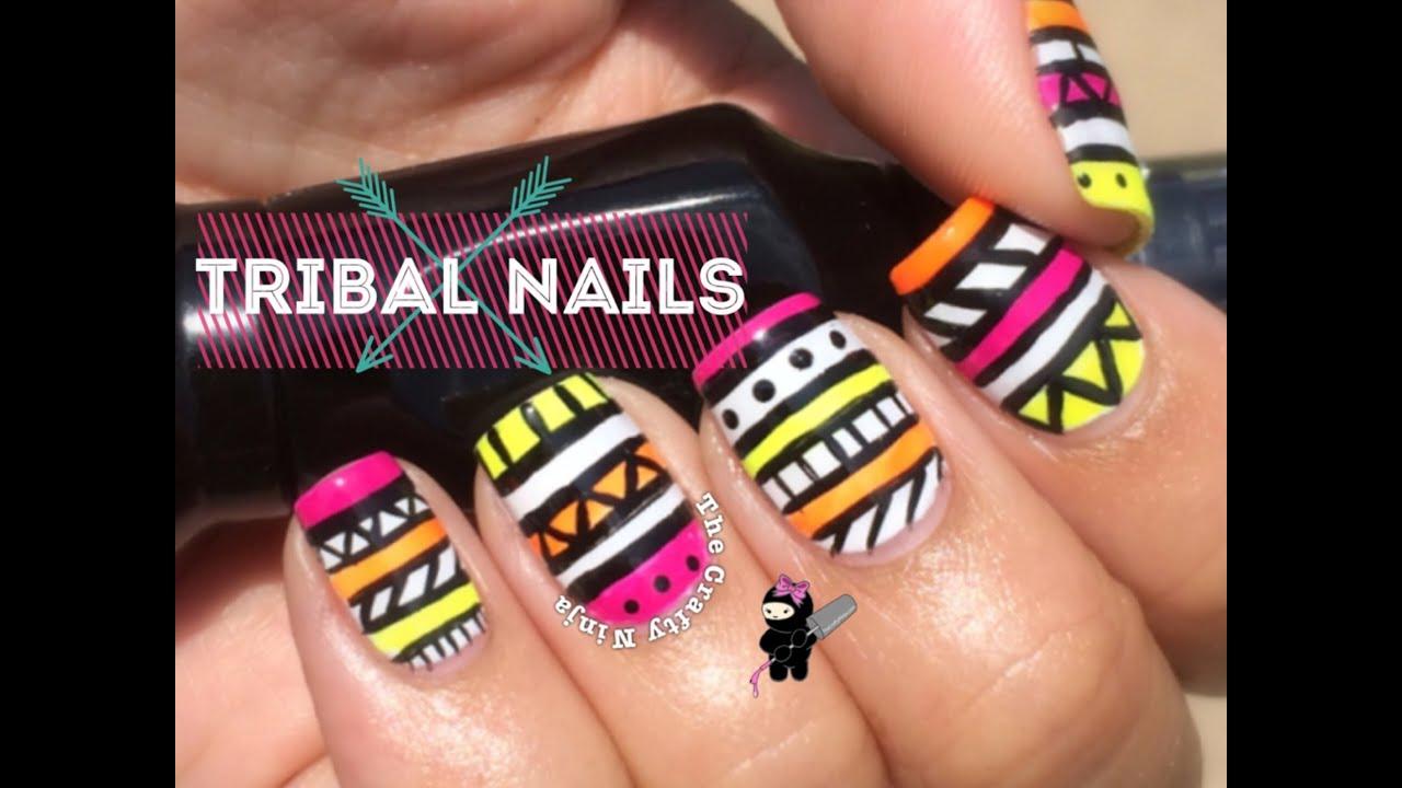 Neon Tribal Nail Art By The Crafty Ninja Youtube