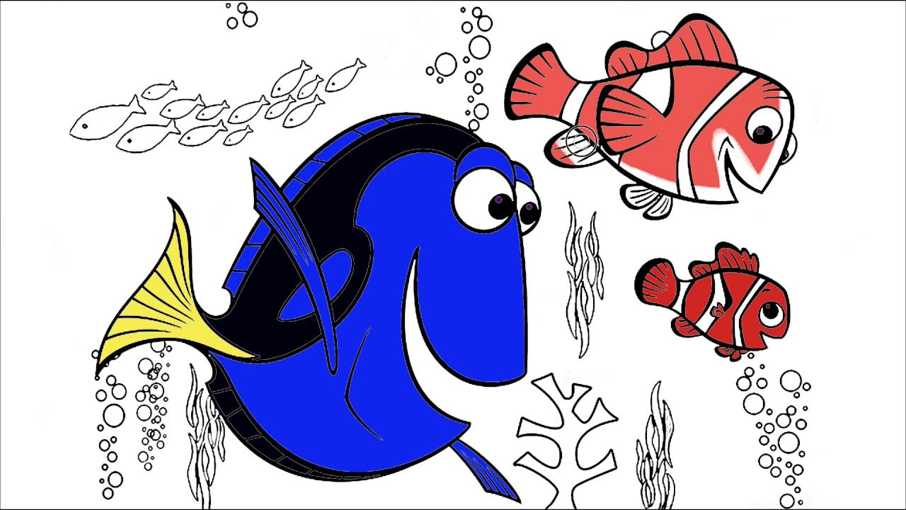 Finding Nemo Coloring Page 3 | Little Hands Coloring Book - YouTube