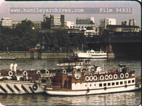 Barges on the THames, 1960's - Film 94931