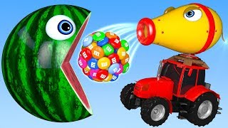 Learn Colors with PACMAN and Farm Tractor M&M Chocolate Street Vehicle for Kids