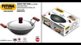 Hawkins Futura Hard Anodised Induction Gas Electric Deep Fry Pan Kadhai with Lid 2 5 litres