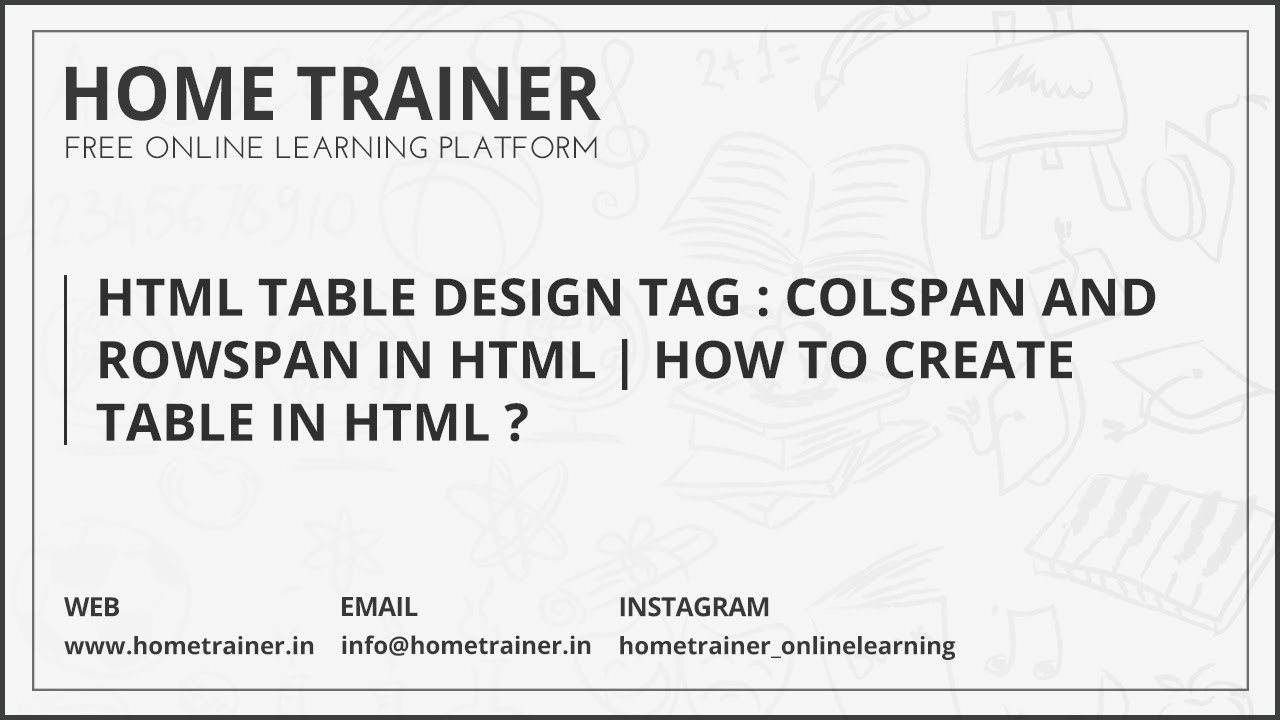 Html Table Design Examples  U0026 Tags   Colspan And Rowspan In