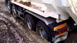 Mercedes Benz Actros 4141 Tipper in mud